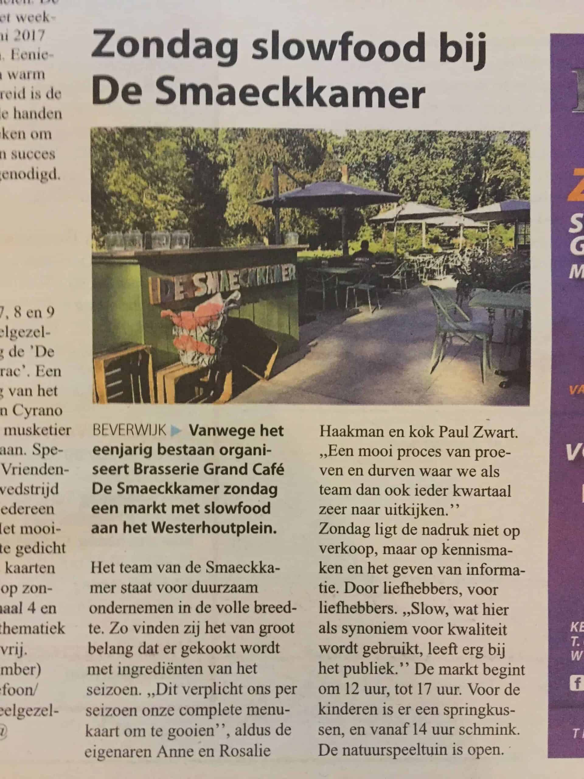 Redactioneel stuk in dagblad De Kennemer